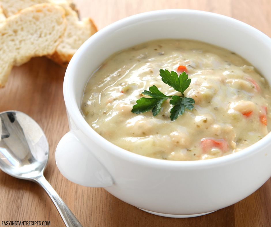 This Instant Pot Creamy Chicken and Rice Soup is the PERFECT soup to warm you up on rainy days! Make some creamy chicken, mushroom, and wild rice soup in less than 15 minutes with your Instant Pot, and your whole family will love it!